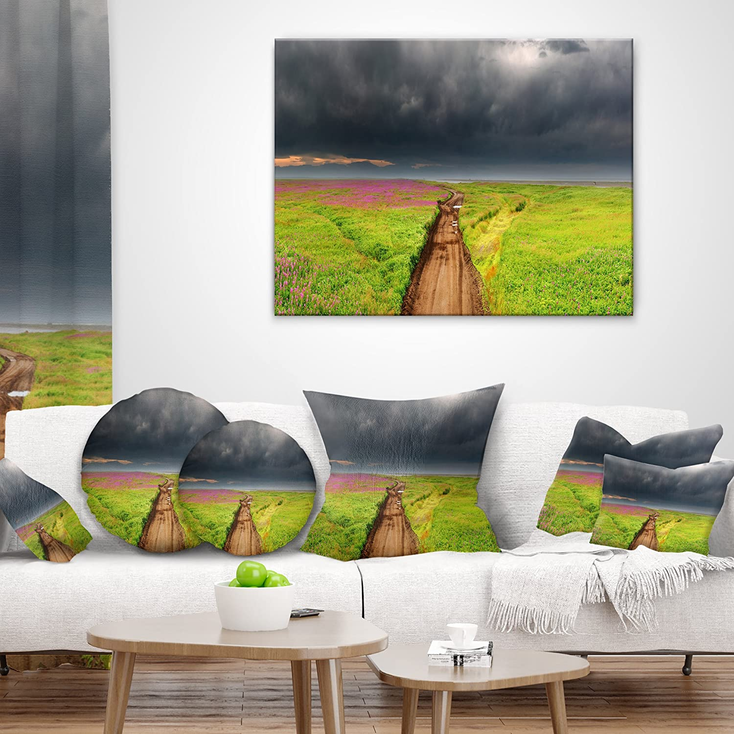 Sofa Throw Pillow 16 in Designart CU13113-16-16 Dirty Road in Blossoming Field Landscape Printed Cushion Cover for Living Room in x 16 in
