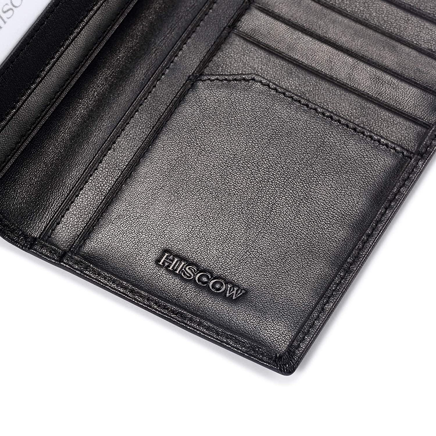 Amazon.com: hiscow Bifold largo billetera negro con grandes ...