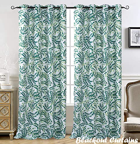 DriftAway Aleena Window Curtain Panels 2 Layers Room Darkening Blackout Thermal Insulated Grommet Curtains for Living Room Bedroom Floral Scroll Pattern 2 Panels 50 Inch by 84 Inch Green White