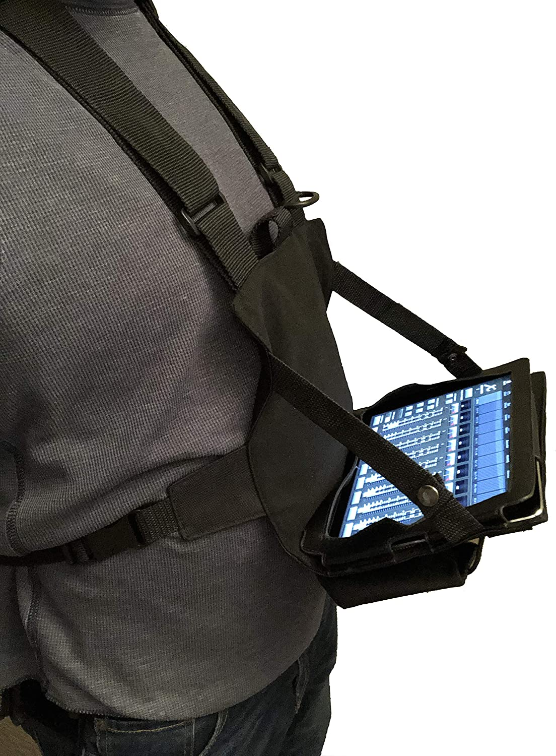"""Gig Gear Two Hand Touch Tablet Chest Harness for 12.9"""" Devices. Compatible with iPad/Galaxy/Surface - Rugged, Heavy Duty, Durable Case and Chest Pack"""