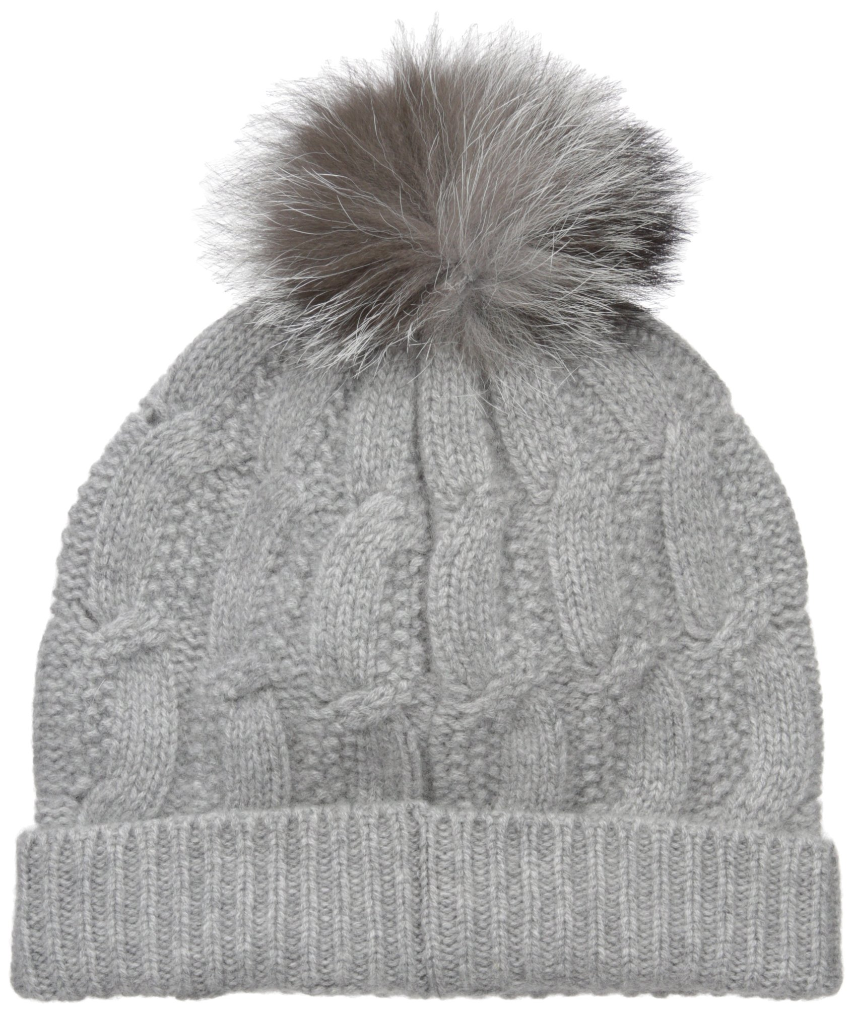 Sofia Cashmere Women's 100% Cashmere Cable Seed Stitch Hat With Fox Fur Pom, Elephant Grey, One by Sofia Cashmere