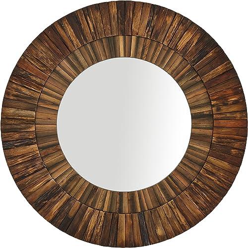 Amazon Brand Stone Beam Round Layered Rustic Wood Hanging Wall Mirror Decor, 42 Inch Height, Dark Wood Finish