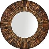 Amazon Brand – Stone & Beam Round Layered Rustic Wood Hanging Wall Mirror Decor, 42 Inch Height, Dark Wood Finish