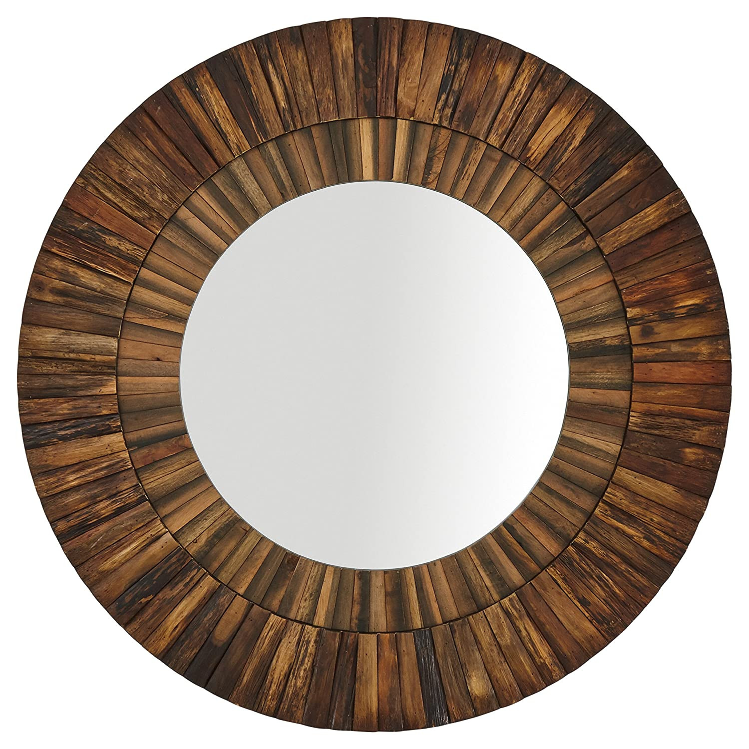 "Stone & Beam Round Layered Wood Mirror, 42""H, Dark Wood Finish"
