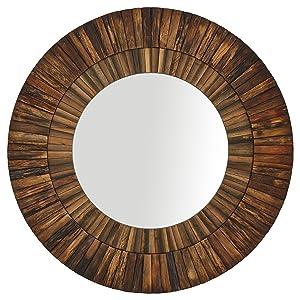 """Stone & Beam Round Layered Wood Mirror, 42""""H, Dark Wood Finish"""