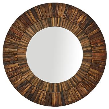 Stone & Beam Round Layered Rustic Wood Hanging Wall Mirror Decor, 42 Inch Height, Dark Wood Finish