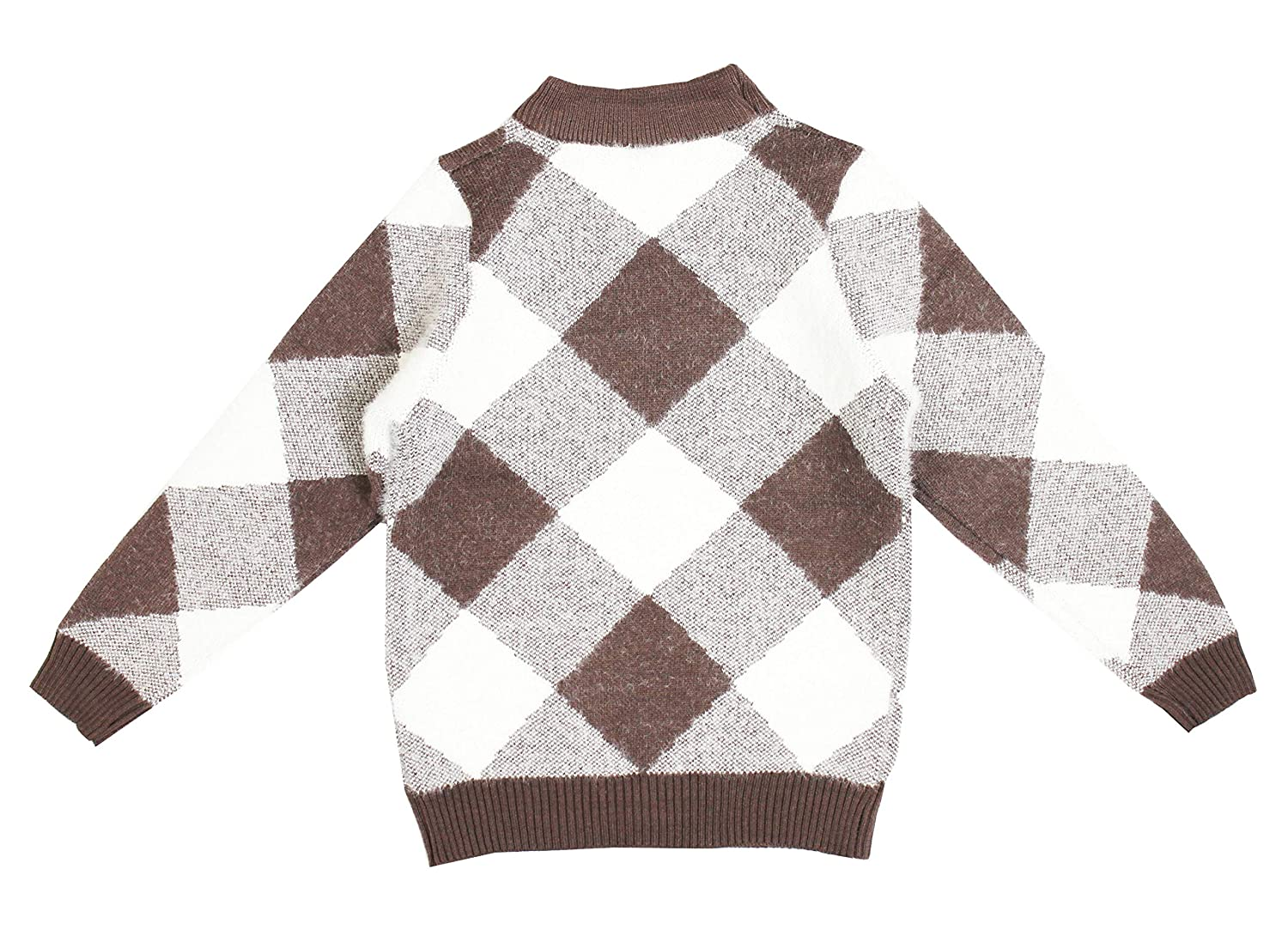 Bienzoe Little Boys Long Sleeve Crew Neck Mixed Pattern Pullover Sweater