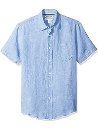 Amazon Essentials mens standard Slim-fit Short-sleeve Linen Shirt