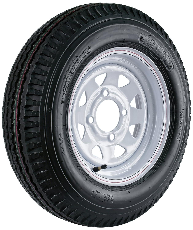 12x4//4x4 Kenda Loadstar 530-12 Custom Spoke Wheel with White Powder-Coat Pinstripe Finish LRC and Trailer Tire Assembly