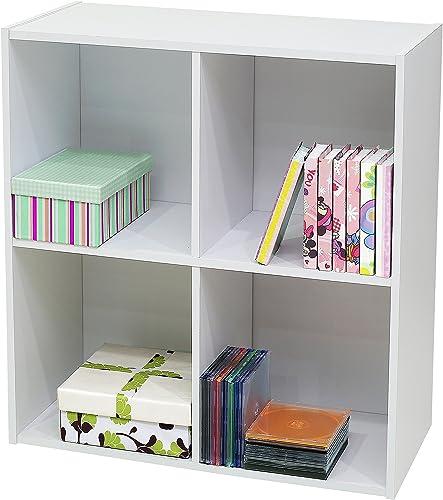 Kings Brand Furniture White Wood 4 Cube Organizer Storage Bookcase