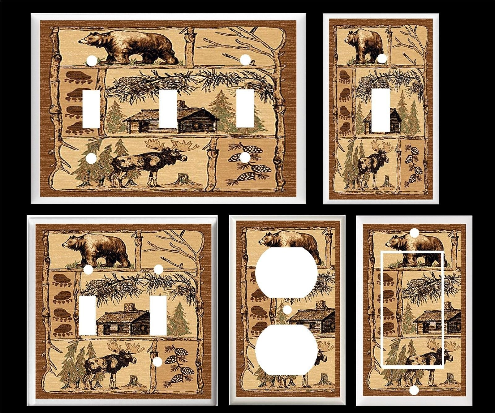 RUSTIC BEAR MOOSE CABIN PAW PRINTS PINE CONE HOME DECOR LIGHT SWITCH COVER PLATE (2x Toggle)