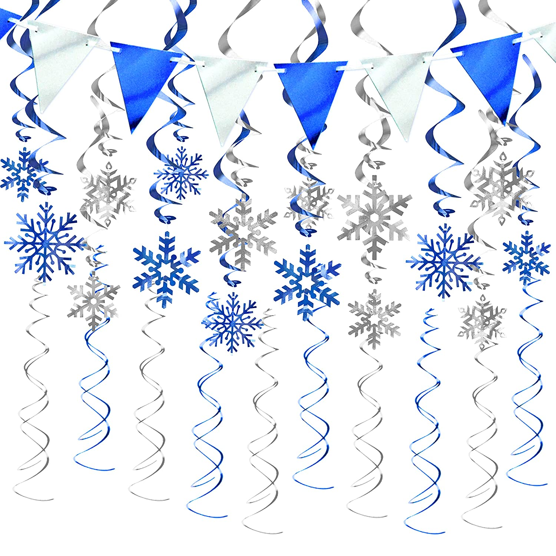 Frozen Christmas Decorations.Kalefo 43pcs Christmas Decorations Snowflake Decorations Hanging Swirl Christmas Ornaments For Winter Wonderland Frozen Birthday Party Supplies Winter