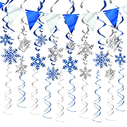 Kalefo 43pcs Christmas Decorations Snowflake Decorations Hanging Swirl Christmas Ornaments For Winter Wonderland Frozen Birthday Party Supplies Winter