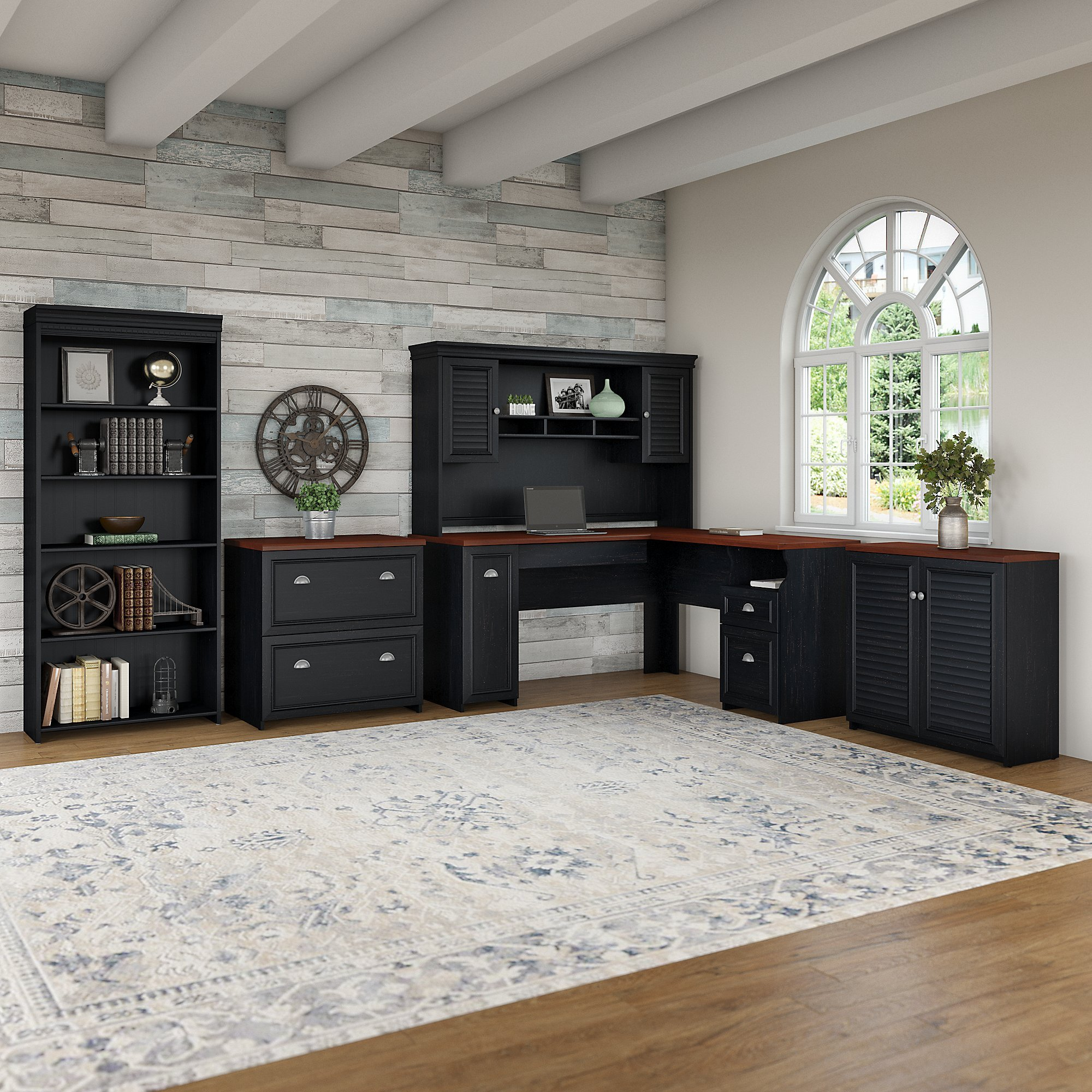 Bush Furniture Fairview 60W L Shaped Desk with Hutch, Storage Cabinets and 5 Shelf Bookcase in Antique Black and Hansen Cherry by Bush Furniture (Image #2)