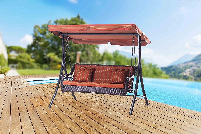 Sunjoy 3-Seat Striped Adjustable Tilt Canopy Wicker Metal Bed Swing