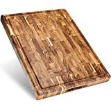 Sonder Los Angeles, Large Thick End Grain Teak Wood Cutting Board with Non-Slip Feet, Juice Groove, Sorting Compartments 17x1
