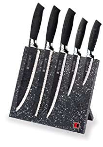 Imperial Collection IM-MGN5-W Stainless Steel Knife Set with Magnetic Knife Block Featuring Embossed Blades with Non-Stick Coating, Ergonomic Soft Grip (6-Piece Set of Knives, Black Handles)