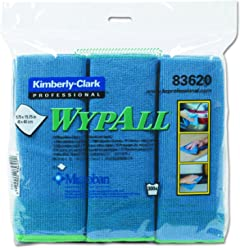 WypAll 83620 Microfibre Wiper Cloth with Microban, Blue, (Pack of 6, Set of 4)