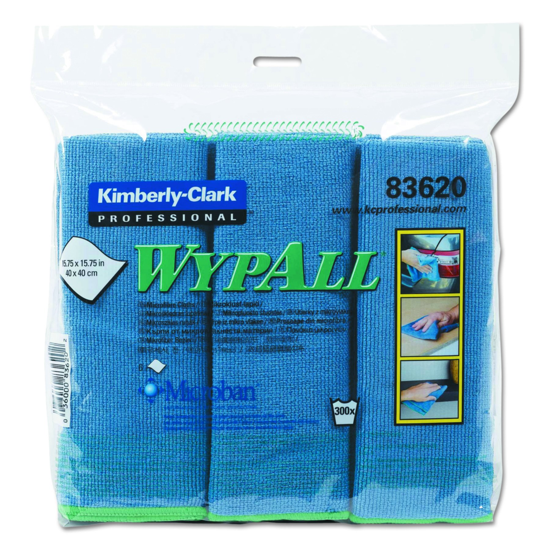 WypAll 83620 Cloths with Microban Microfiber, 15 3/4 x 15 3/4