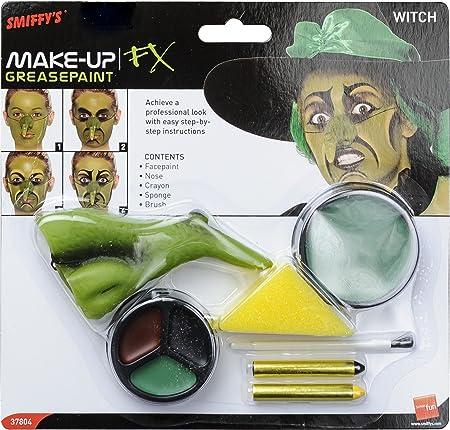 Incluye Kit de maquillaje de bruja, incluye pintura para la cara, nariz, lápices y esponja,Disponibl