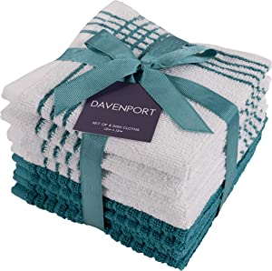 "KAF Home Davenport 100% Cotton Dish Cloths | Set of 8, 12 x 12 Inches | Absorbent and Machine Washable | Perfect for Cleaning Counters, and Any Household Spills (Teal, 12"" x 12"")"
