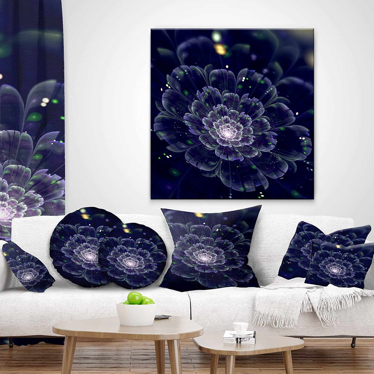 x 18 in Designart CU11879-18-18 Dark Blue Fractal Flower Digital Art Floral Throw Cushion Pillow Cover for Living Room Cushion Cover Printed on Both Side Pillow Insert Sofa 18 in