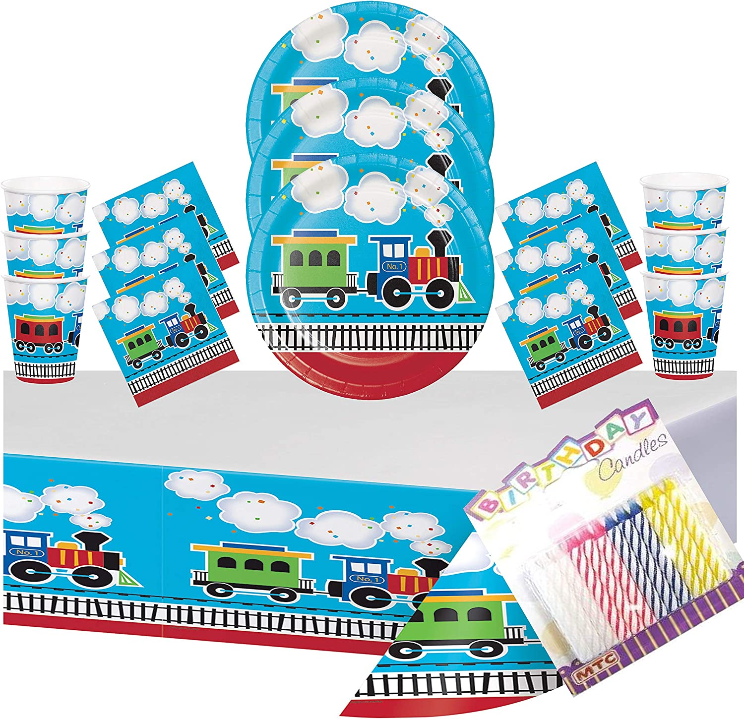 16 Cups 16 Beverage Napkins Thomas All Aboard Train Party Supplies Pack for 16 Guests 16 Stickers and 1 Table Cover Train Decorations For The Perfect Train Birthday Party 16 Dessert Plates
