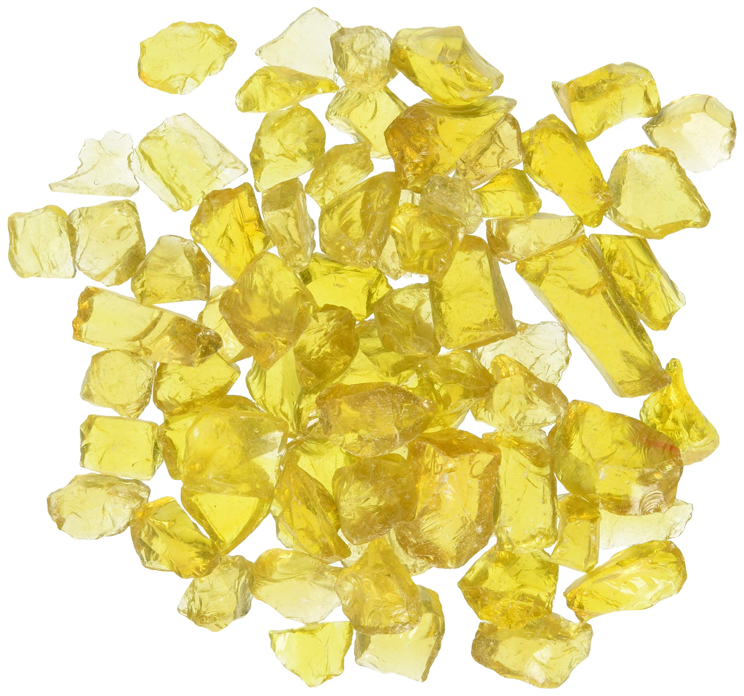 American Fireglass 9 to 12mm Fire Pit and Outdoor Fireplace Glass, Small, 10-Pound, Yellow by American Fireglass