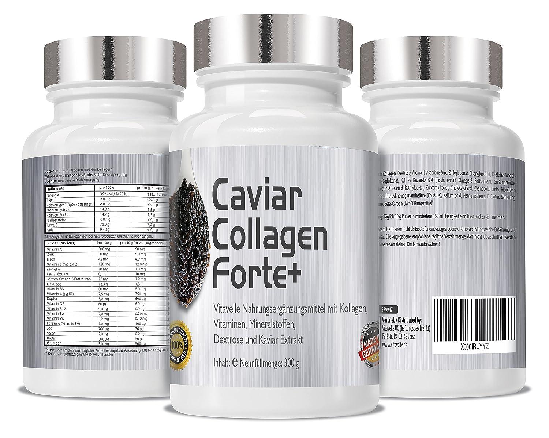 Caviar colágeno Forte+ 300 gramos de mezcla de polvo I anti-envejecimiento con Caviar colágeno Forte + para la piel naturalmente radiante: Amazon.es: Salud ...