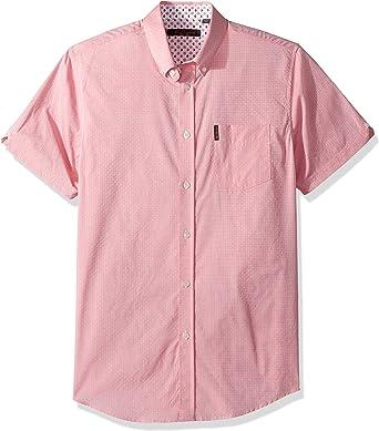 Ben Sherman Hombre Manga corta camisa - Rosa - Small: Amazon.es: Ropa y accesorios
