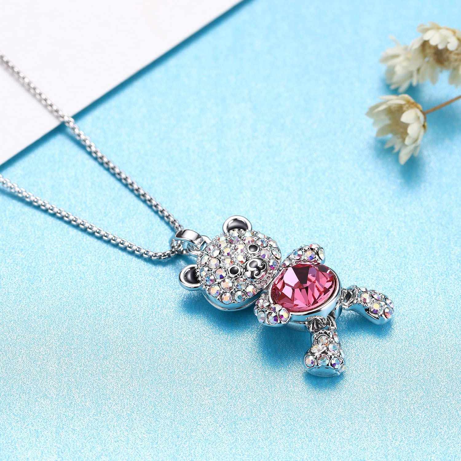 Pink Kalapure Girls Cute Bear Pendant Necklace with Swarovski Elements Crystals for Women Girlfriend birthday gift 18