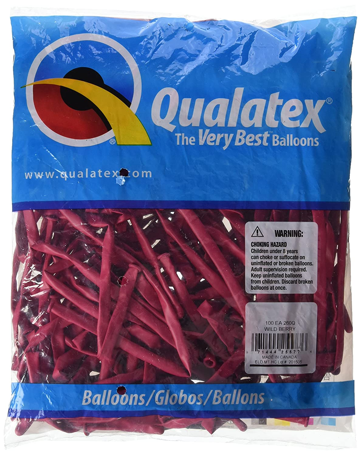 Qualatex 43948 260QPALE BLUE100CT Modelling or Twisting Balloons Pale Blue