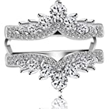 Uloveido Simulated Diamond Princess Crown Ring Wraps and Enhancers Wedding Engagement Rings Guard Enhancer Y477