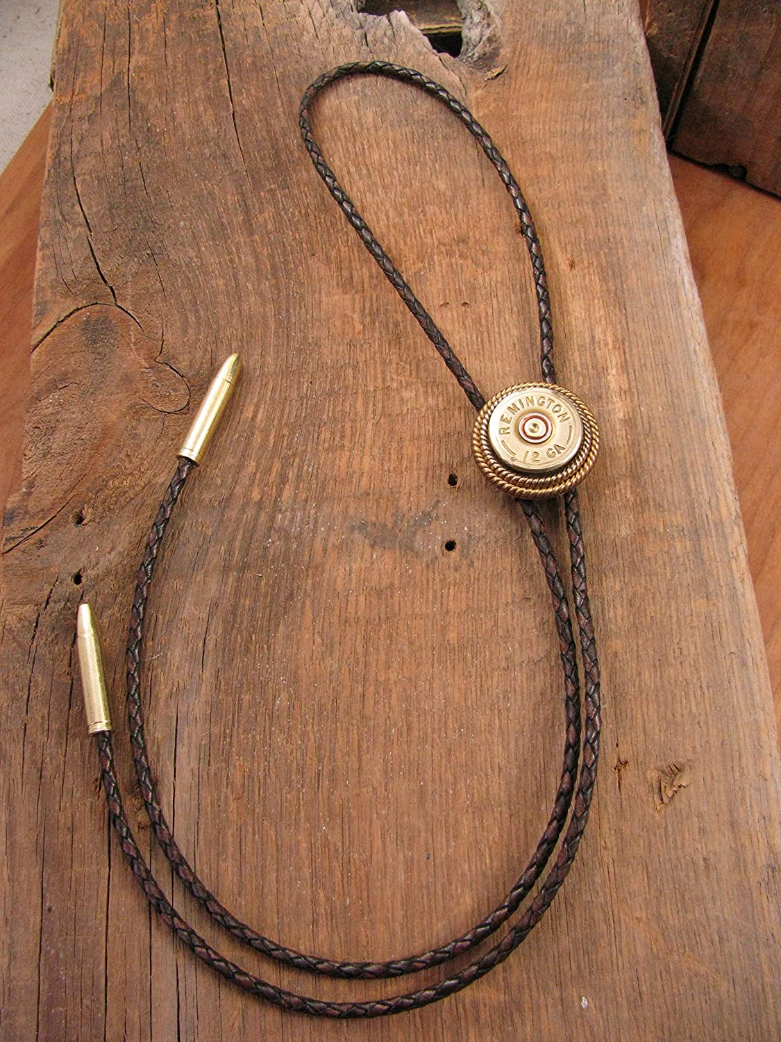 50ee3a78ae 12 Gauge Dark Brown Braided Leather Bolo Tie