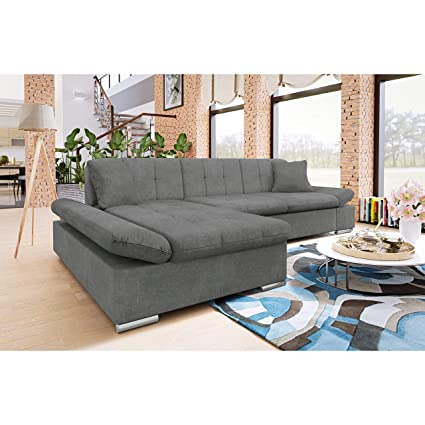 Honey Pot Furniture Malvi Corner Sofa Bed with storage White/Grey Right Hand
