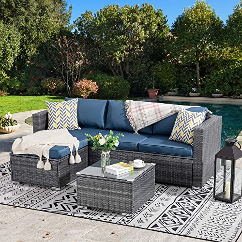 Walsunny Outdoor Furniture Patio Sets,Low Back All-Weather Small Rattan Sectional Sofa