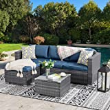 Walsunny Outdoor Furniture Patio Sets,Low Back All-Weather Small Rattan Sectional Sofa with Tea Table&Washable Couch Cushions