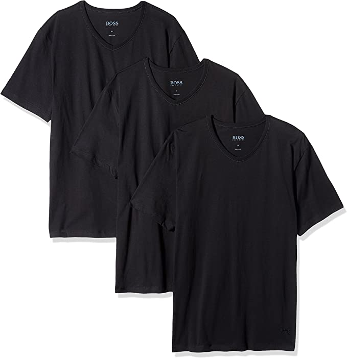 Hugo Boss Pack 3 Coton Classique V-Neck T-Shirt Shirt SS VN Monochrome