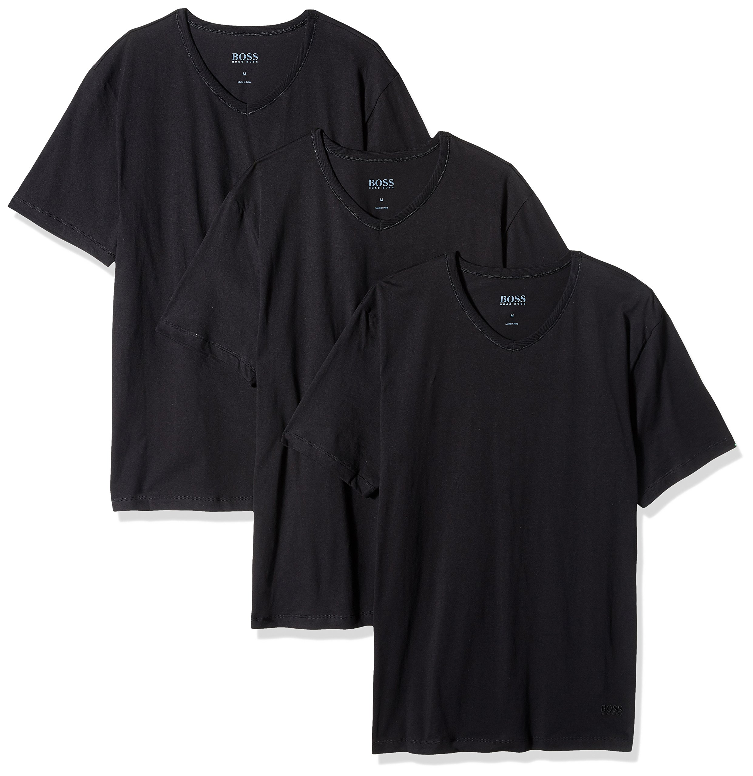 Hugo Boss BOSS Men's Cotton 3 Pack V-Neck T-Shirt, New Black, Large