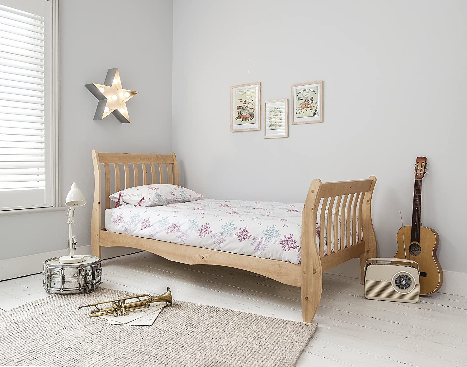 Single Bed in Natural Pine 3ft Astrid Sleigh Bed Noa & Nani