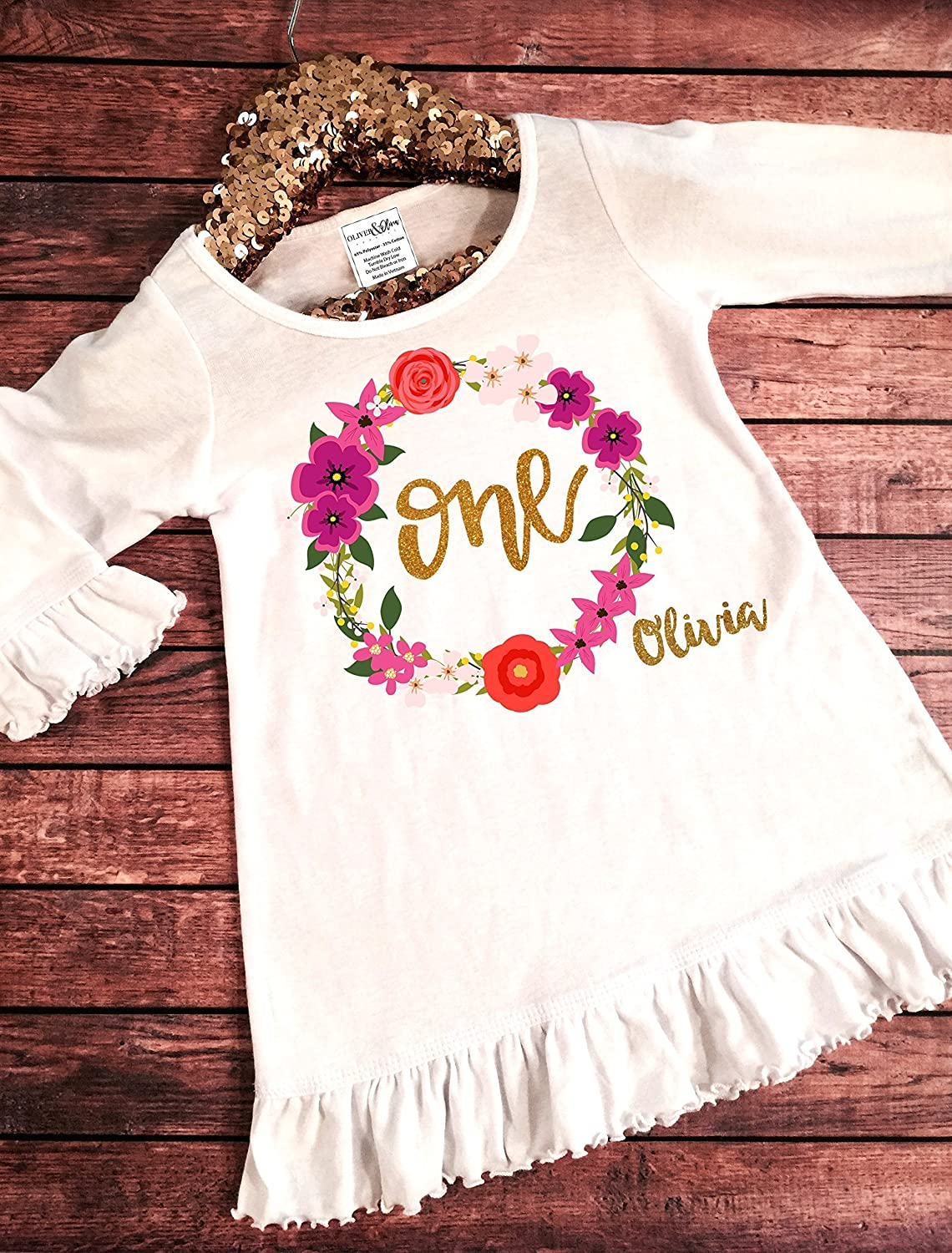 Personalized 1st Birthday Girl Cotton Toddler Long Sleeve Ruffle Shirt Top