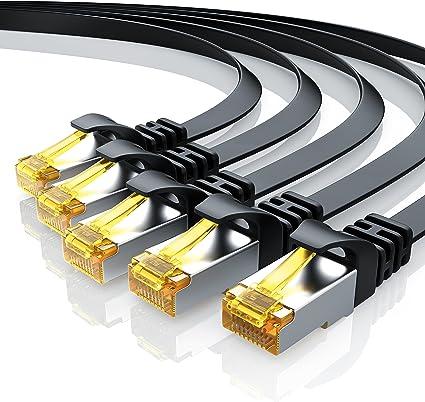5 X 0 25m Cat 7 Netzwerkkabel Flach Ethernet Kabel Gigabit Lan 10 Gbit S Patchkabel Flachbandkabel Verlegekabel Cat 7 Rohkabel U Ftp Pimf Schirmung Mit Rj 45 Stecker Switch Router Modem Elektronik