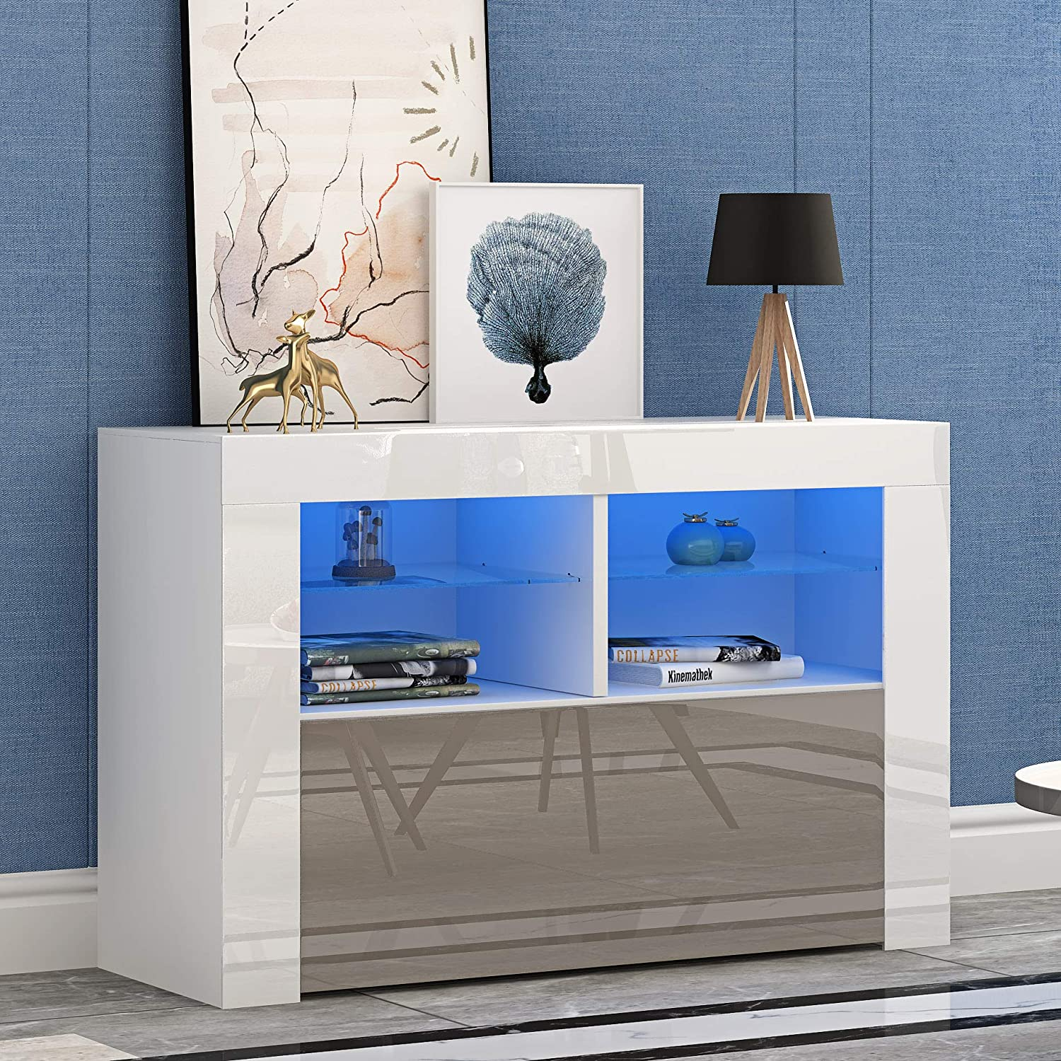 White Matt Body /& Gray High Gloss Fronts + Led light Front RGB LED TV Stand Cabinet Unit Modern 100cm TV Desk with Storage for Entertainment Living Room