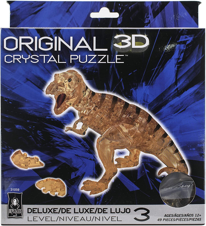 Original 3D Crystal Puzzle Brain Teaser Translucent Crystalline Deluxe T-Rex New