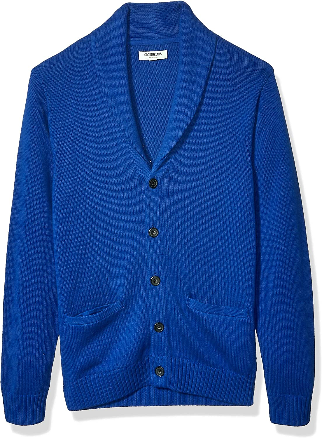 60s 70s Men's Jackets & Sweaters Amazon Brand - Goodthreads Mens Soft Cotton Shawl Cardigan Sweater $43.55 AT vintagedancer.com
