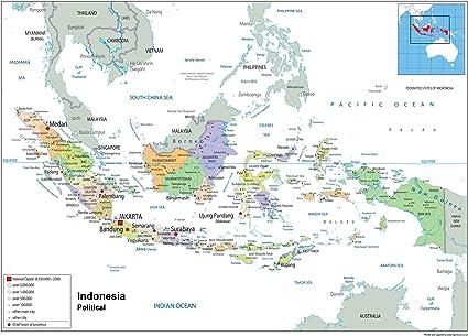 Cartina Fisica Dellindonesia.Indonesia Mappa Politica Del Wall Carta Plastificata A0 Size 84 1 X 118 9 Cm Amazon It Cancelleria E Prodotti Per Ufficio