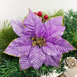 TURNMEON 24 Pack 5.5 Inch Christmas Glitter Poinsettia Artificial Silk Flowers Picks Christmas Tree Ornaments for Gold Christmas Tree Wreaths Garland Holiday Decoration(Purple)