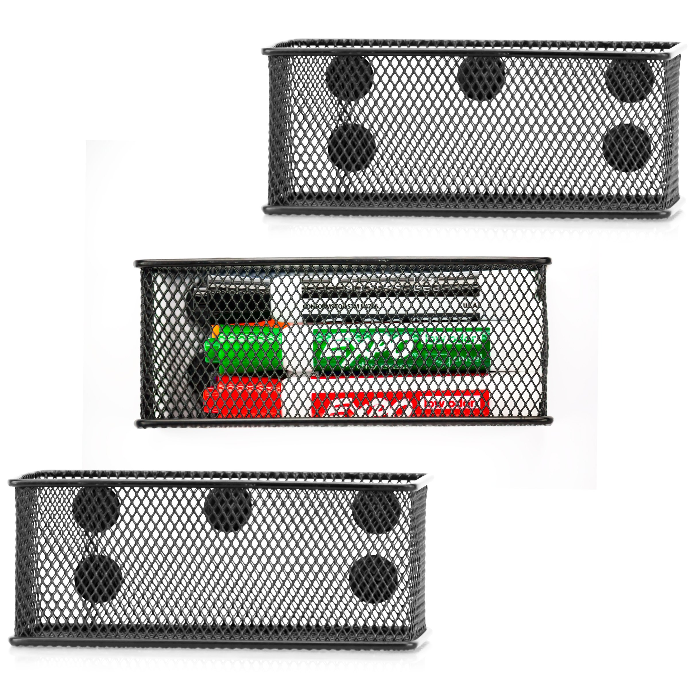 Premium Magnetic Organizer Set of 3 - Black Wire Mesh Storage Baskets with strong Magnets keep your office clutter-free