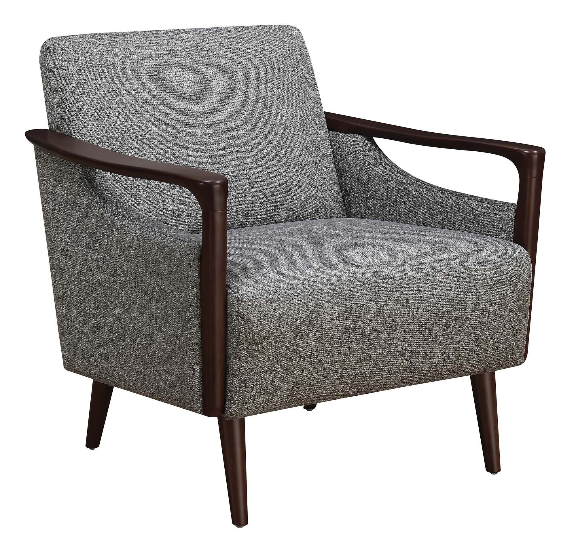 Coaster Home Furnishings Upholstered Accent Chair Grey and Brown - Set includes: One (1) accent chair Materials: Fabric, pine and plywood Material Content: 100% polyester - living-room-furniture, living-room, accent-chairs - 91FQPStYFgL -