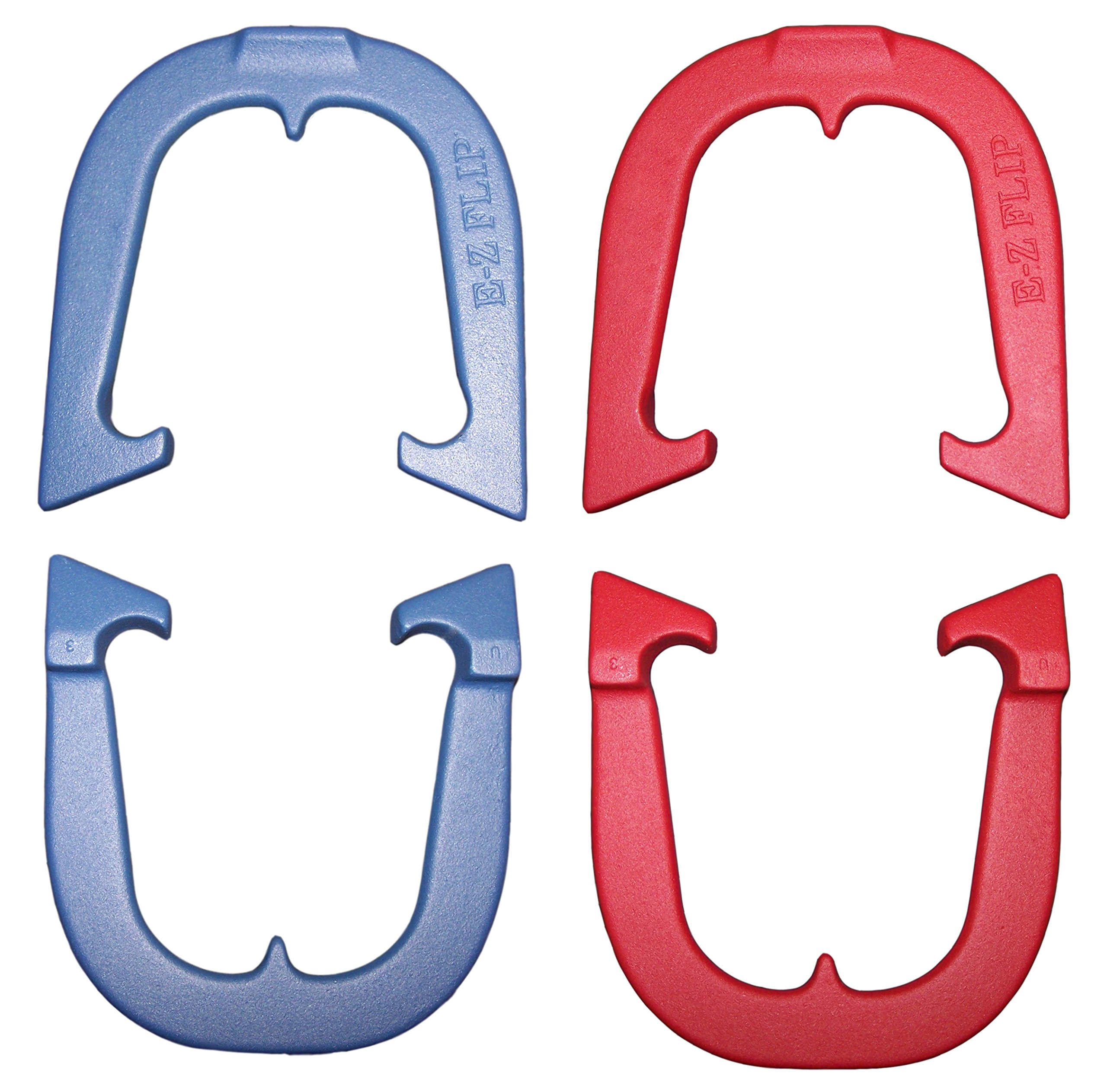 E-Z Flip Professional Pitching Horseshoes Set, Made in the USA! (Red & Blue- Two Pair Set (4 shoes))